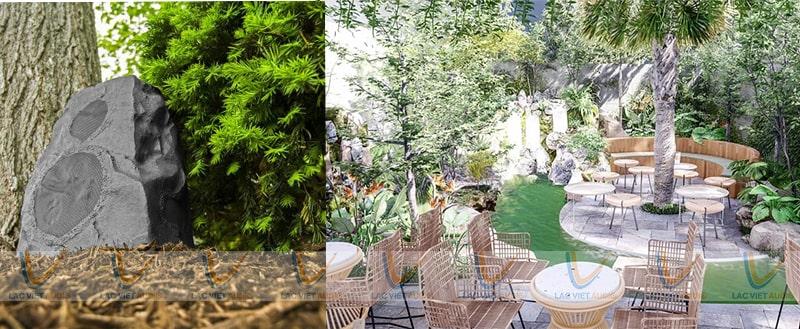 Loa vệ tinh sân vườn cho quán cafe ngoài trời