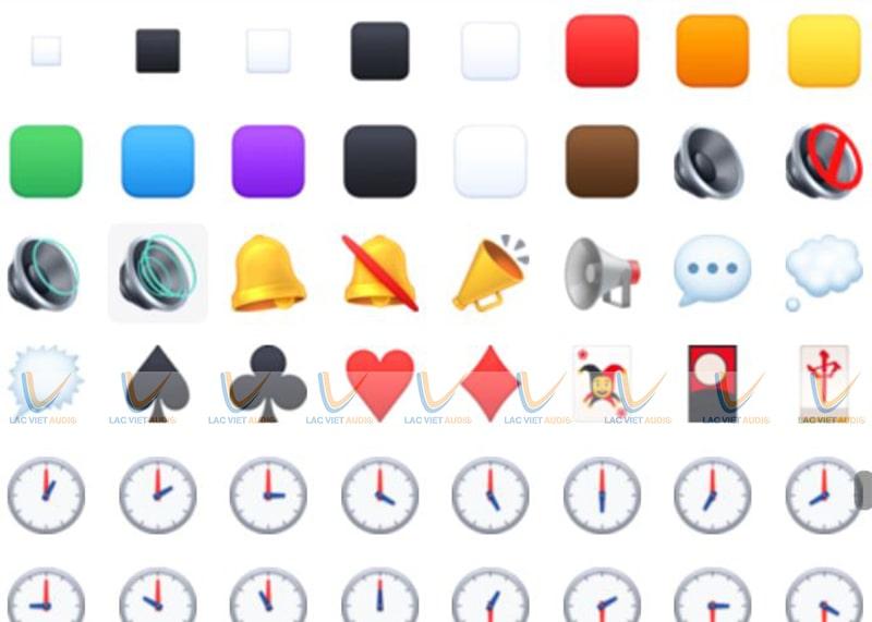 Các icon loa facebook trong mục biểu tượng