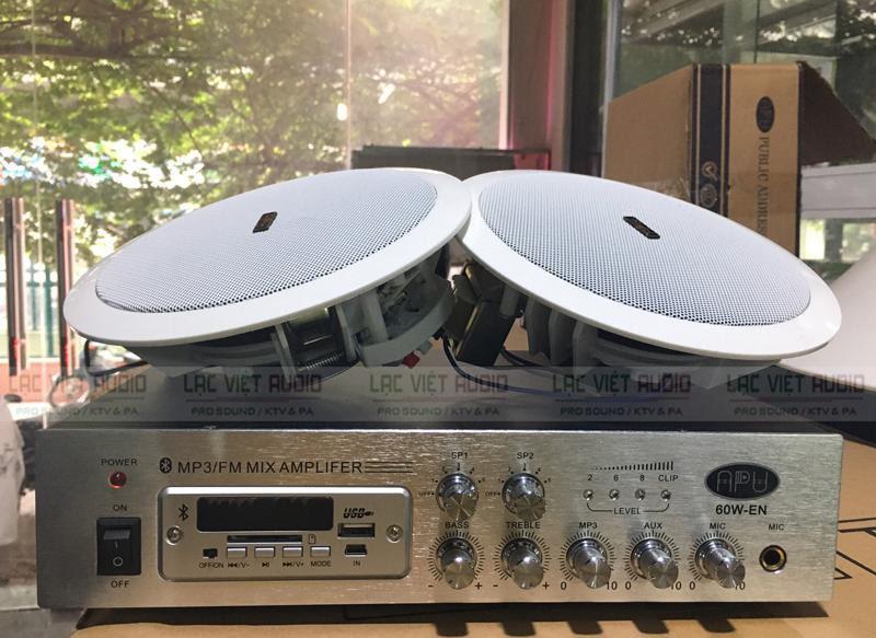 Hình ảnh thực tế khi lắp đặt combo loa âm trần gồm loa và amply