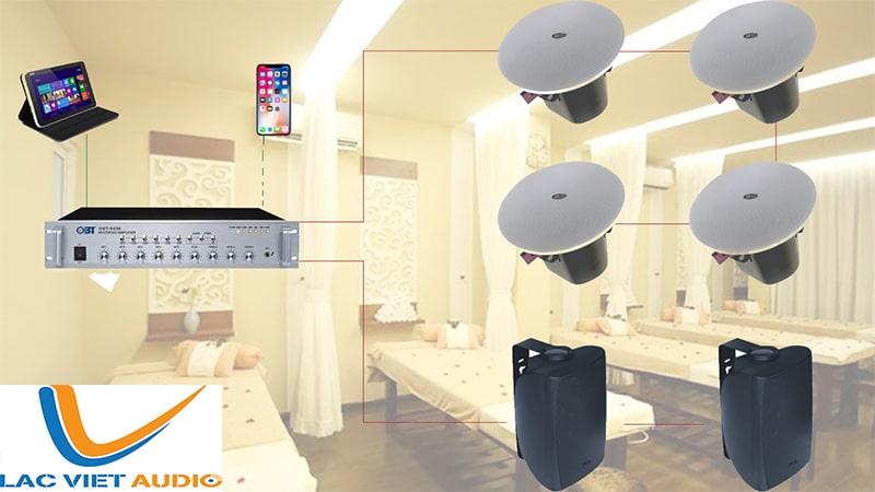 Hệ thống âm thanh spa thường gồm loa âm trần, loa treo tường và amply trung tâm