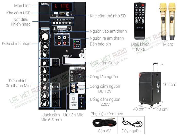 Hệ thống các nút điều chỉnh được tích hợp trên loa