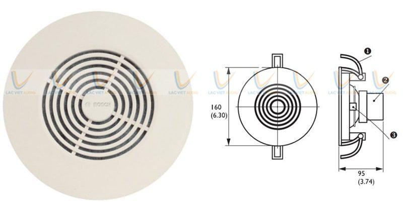 Kẹp ở bên của loa Bosch LBC-3950/01 giúp cố định hơn