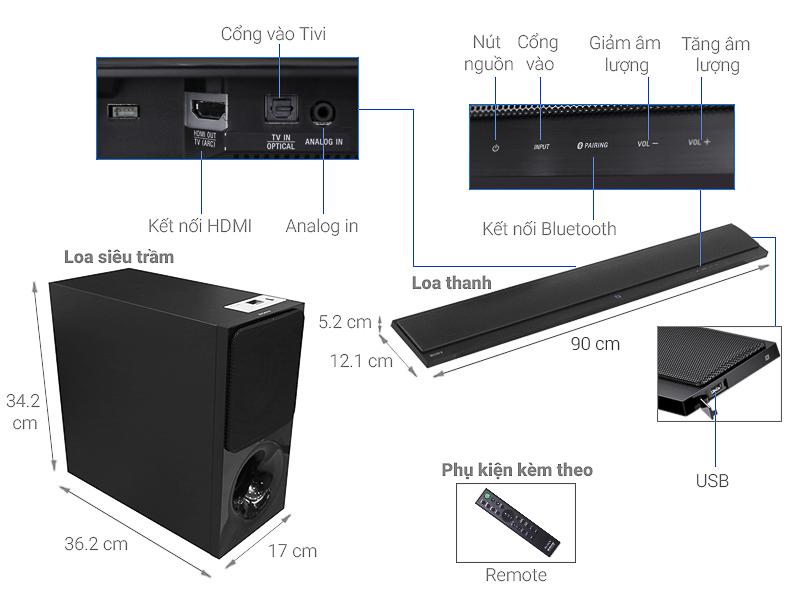 Loa thanh soundbar Sony 2.1 HT-CT390 300W