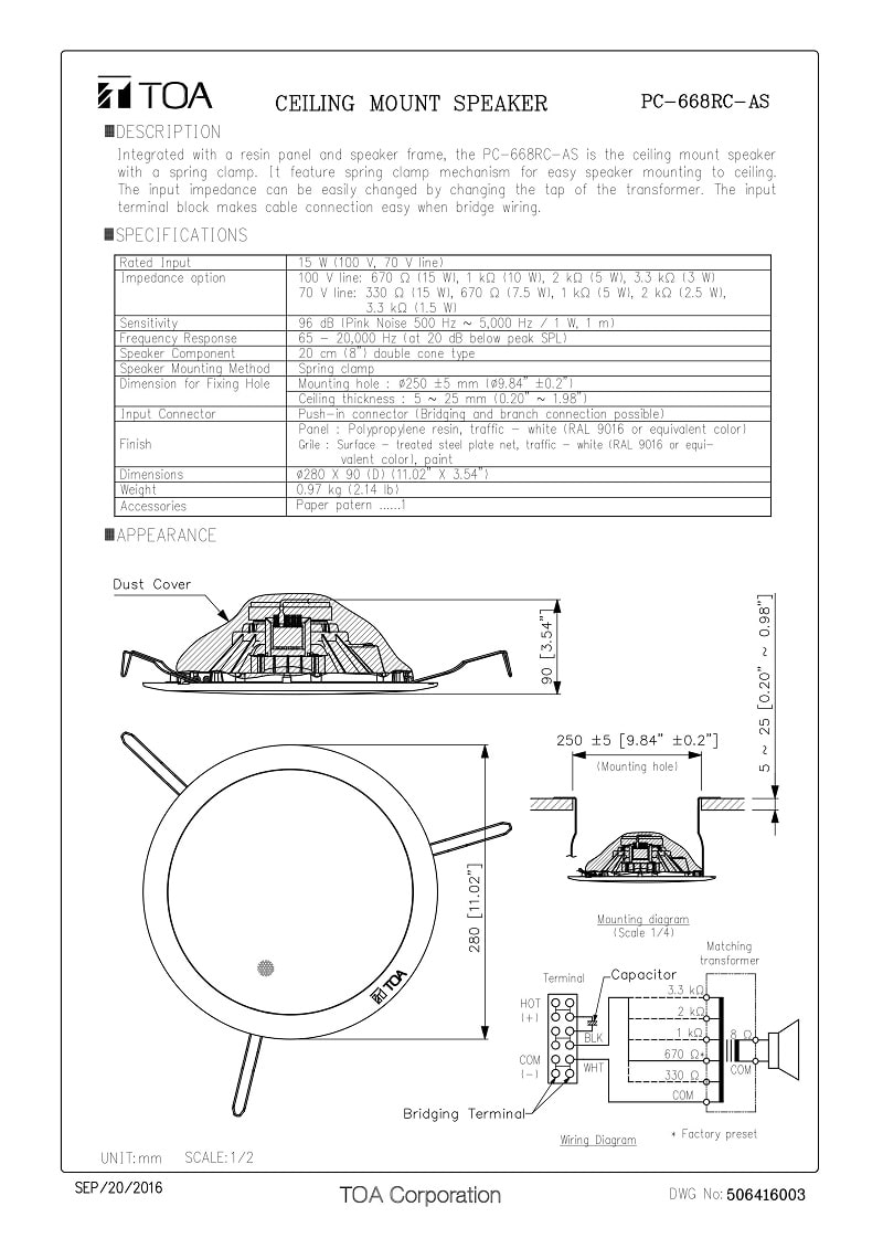 Thông số kỹ thuật và bản vẽ của loa âm trần Toa PC- 668RC