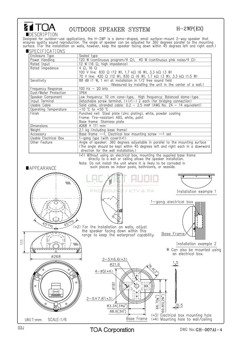 Thông số kỹ thuật và và bản vẽ loa âm trần TOA H- 2WP EX