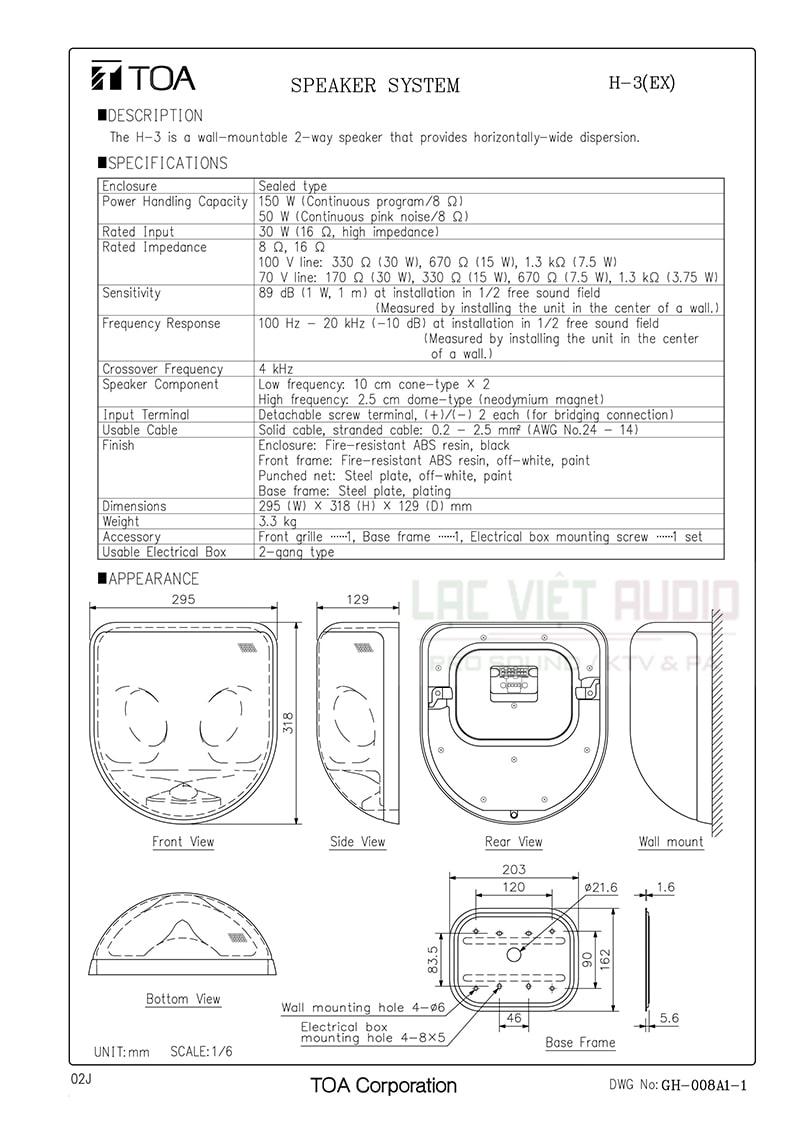 Thông số kỹ thuật và bản vẽ loa âm trần TOA H-3 EX