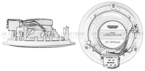 Bản vẽ mặt bên và mặt sau loa âm trần Prophon- CS- 602