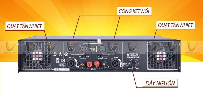 Thiết kế chuyên dụng gồm: quạt tản nhiệt, các cổng kết nối, dây nguồn.