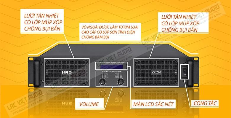 Tổng thể gọn gàng, vuông vắn là điểm cộng trong thiết kế của HAS VX-2500