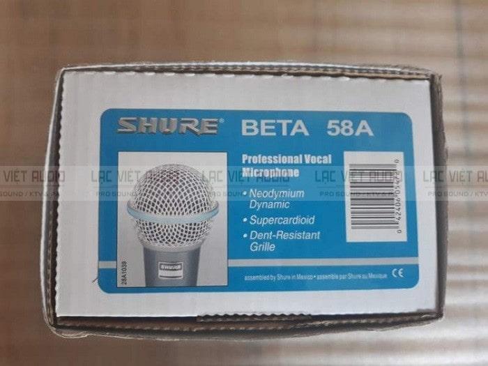 Hình ảnh thực tế của bao bì sản phẩm micro SHURE Beta 58A nhập khẩu chính hãng