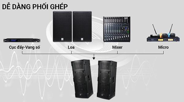 Dễ dàng phối ghép với các thiết bị khác để tạo nên dàn âm thanh chuyên nghiệp