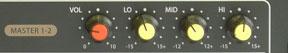 Nút bass, mid, treble trên amply