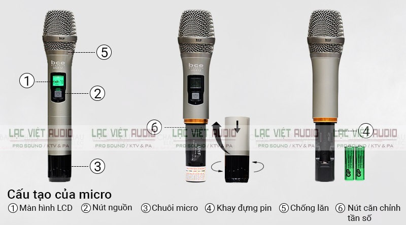 Thiết kế tay cầm micro BCE UGX12 tinh tế sang trong và đa tính năng