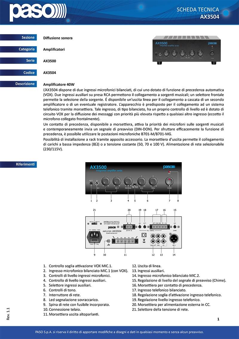 Thông số kỹ thuật của Amply Paso AX3504 40 W