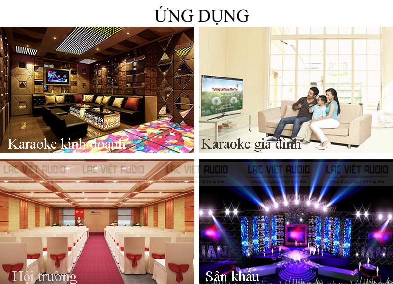 Lý tưởng lắp đặt cho dàn karaoke, phòng hát kinh doanh, âm thanh hội trường,...