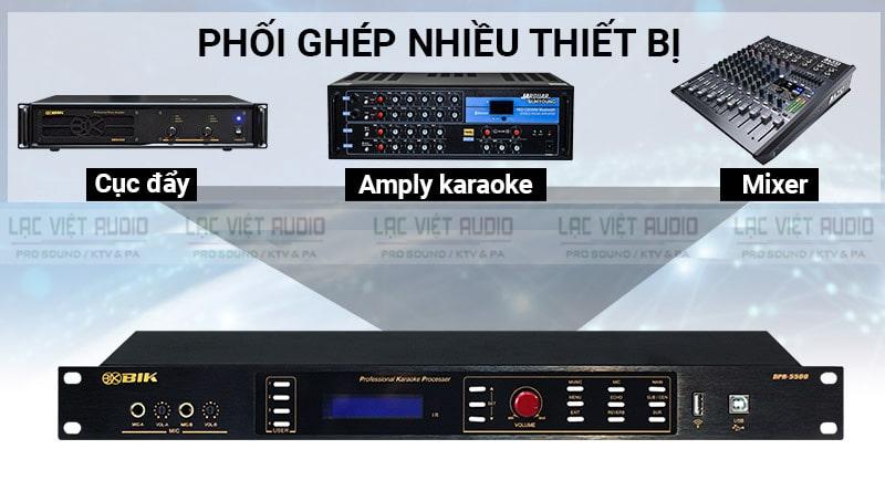 Vang sốBIK-BPR5500 phối ghép với nhiều thiết bị như: amply karaoke, cục đẩy,...