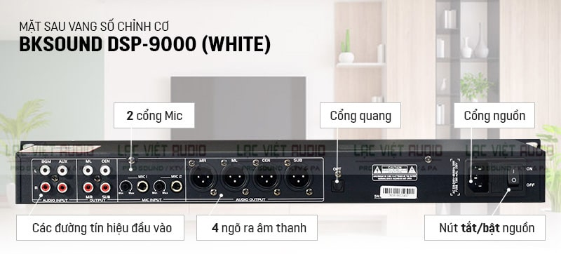 Mặt sau của vang số chỉnh cơ BKsound 9000 White