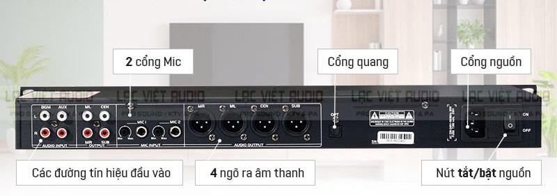 Mặt sau vang cơ lai số BKsound gồm các cổng kết nối vào, ra, jack cắm,...